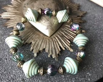 vintage Victorian bracelet with mint and melon beads multicolor