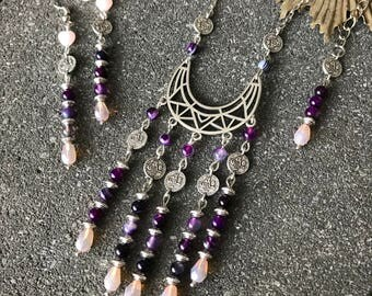 Necklace ethnic ethnic Bohemian agate beads and Czech glass bead