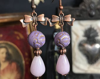 Earrings copper Victorian rose lilac