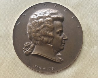 Large Bronze Medallion of Mozart  1756-1791
