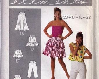 Misses' Skirts, Shorts, Pants and Peplum Pattern - Patron de Jupes, pantalon et vasque pour jeune femme - Simplcity no 9058