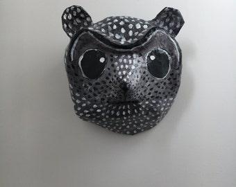 Paper mache animal head / Lemur / Racoon / Badger