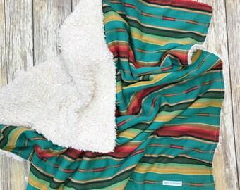 Aztec Serape Sherpa baby blanket - Sweet Texas Treasures - serape baby blanket, boho baby, bohemian baby, unisex baby shower gift