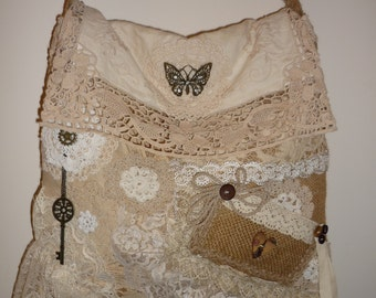 Shabby chic burlap bag