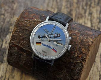 NOS!!! Rare Old Vintage SLAVA  Baikonur  Russian Men's Watch with new strap Limited Edition
