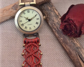 macrame watch,minimal watch,macrame jewelry,wrist watch