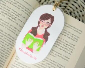 Laminated bookmark with  nerd bookworm Siri