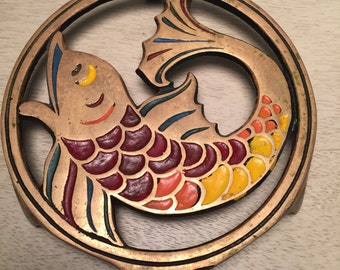 Vintage Metal Fish Trivet Made in Israel Housewares 1960s