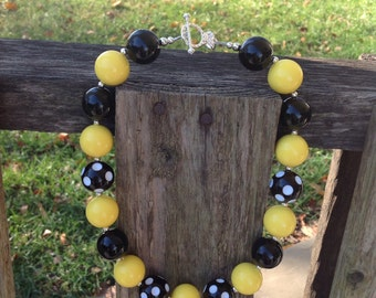 Yellow chunky necklace, yellow and black, bubblegum bead necklace, kids necklace, chunky necklace, bubble gum necklace, girls necklace
