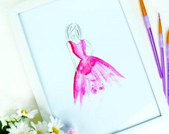 Watercolour Painting   Woman in pink dress   Art   Print