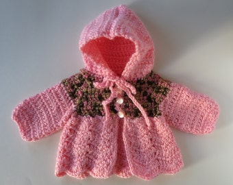 Crocheted Baby Sweater, Baby Pink Sweater, Brown Green Yoke, Hooded Baby Sweater, Baby Girl Sweater, Baby Shower Gift, Cardigan