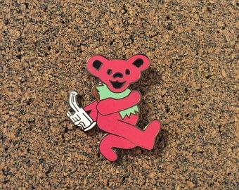 Pink Grateful Dead Stoner Dabbing Bear Hat Pin