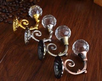 Clear Glass Hooks Crystal Wall Hooks Decorative Wall Hooks Gold Silver Coat Hat Hangers Hooks Antique Bronze Copper Curtain Tie Backs Hook
