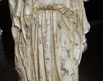 Roman Faux Marble Statue Lifesize Vintage Art Pedestal Robed Figure Eclectic Home Decor Stage Theater Prop Mid Century Coating IndoorOutdoor
