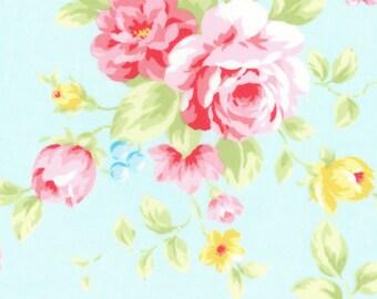 Crib Sheet - Standard Mini or Bassinet Sizes - Floral Pastel Flowers Garden Roses - Aqua Blue Pink Yellow Green - Baby Girl Baby Shower