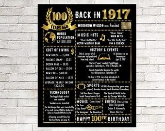100th Birthday, 100 Years Ago in 1917, 1917 Poster Born in 1917, 100th Birthday Gifts, 100th birthday decorations, Digital, 100th Invitation