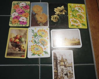 8 Vintage Playing Cards Yellow Themes Illustrations Images Swap ATC Collect