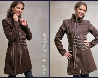 Brown woman winter coat, wool jacket, long coat, handmade, elegant high collar, warm knee-length coat, custom designer clothing, embroidery