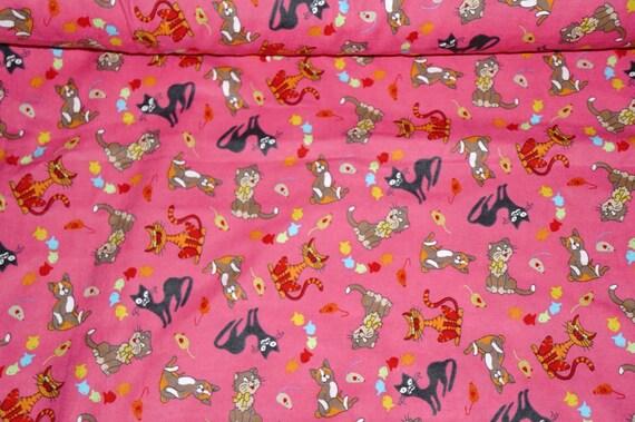 Crazy cat cotton flannel fabric children hot pink by the for Children s flannel fabric by the yard