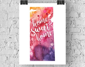 Saskatchewan Home Sweet Home Art Print, SK Watercolour Home Decor Map Print, Giclee Canada Art, Housewarming or Moving Gift, Hand Lettering