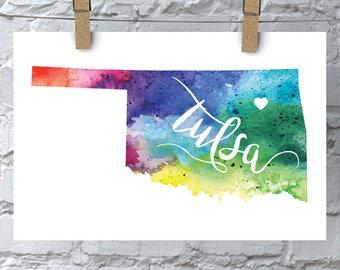 Custom Oklahoma Map Art, Oklahoma Watercolor Heart Map Home Decor, Tulsa or Your City Hand Lettering, Personalized Giclee Print, 5 Colors
