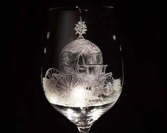Frozen  chariot- hand engraved wine glass