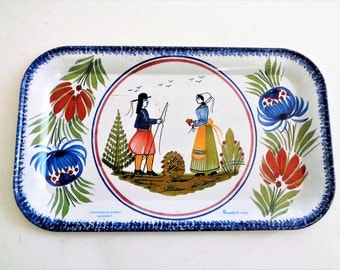 Tin Tray, Vintage Henriot Quimper Tin Small Serving Tray, Tray Massilly France, Faiencerie de QUIMPER