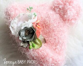 Newborn Hat, Baby Girl Hat,Newborn Prop, Newborn Photography, Baby Prop,Baby Bonnet,Pink Hat,Baby Girl Prop,Knit Hat,Flower Hat, Easter Prop