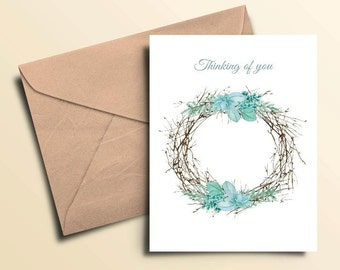 Wreath Thinking of You Cards - Box of 10 With Envelopes