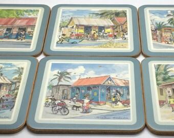 Pimpernel Coasters Barbados Jill Walker Street Scenes Palm Trees Vacation Island Life Beach House  Acrylic Set Of Six