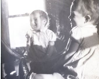 Vintage Original Photo Negative Abstract Child Mirror Reflection