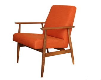 Armchair 60s, mid century, Orange, production to order, hand made,.