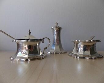Three Piece Silver Cruet Set Birmingham 1930/31