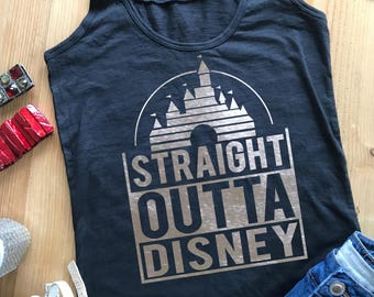 Straight  Outta Disney black racer back Tank Top with silver vinyl. Amazing!