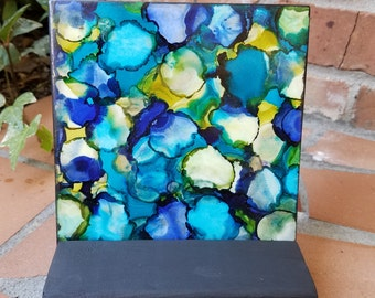 Alcohol Ink, Painting, Tile, Abstract, Blues, Greens, Yellows