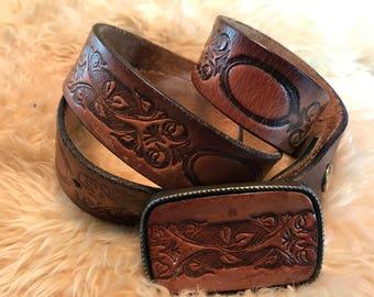 Vintage belt leather buckle /leather belt