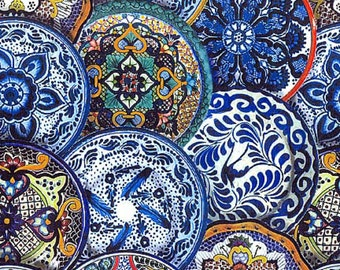 Fiesta Talavera Plates, Elizabeth Studios, 100% Quilt Shop Quality Cotton, Sold by the Half Yard