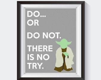 Yoda Minimalist Movie Print - Star Wars Minimalist Print, Star Wars Print Art, Star Wars Decor, Yoda Jedi Print, Yoda Art, Do or Do Not