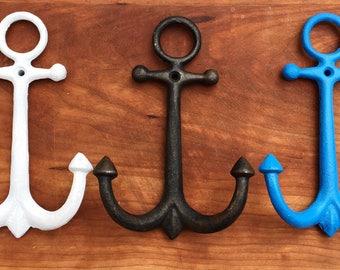Cast Iron Anchor, cast iron hooks, Anchor Wall Decor, Beach Decor, Beach Bathroom, Nautical Decor, Nautical Bathroom, Nautical Nursery, ocea