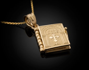 Gold Holy Bible 3D Book Christian Pendant Necklace (yellow gold, white gold, 10k, 14k)