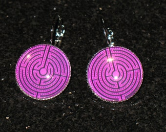 Purple Chartres Labyrinth 18mm Glass Cabochon Drop Earrings