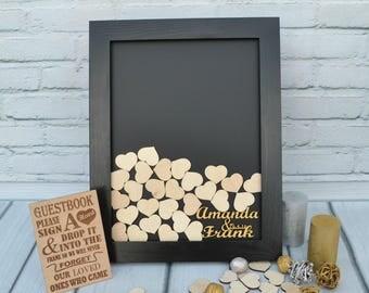 Guest Book Alternative Wedding Heart Drop Box Guestbook Wood frame Black Gold Decor