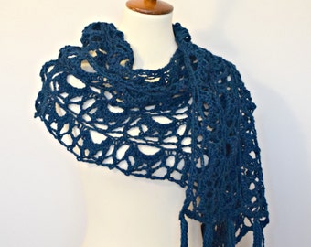 Bold Blue Lace Knit Wool Shawl Scarf