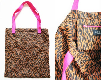 Shopper with Inside Pocket with zipper «Leo Pink» Shopping bag black brown leo pattern