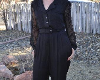 Vintage 1980s  Black Menu Belted Jumpsuit with Sheer Sleeves