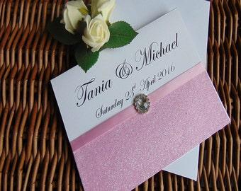Wedding Invitations, Glitter Wedding Invitations, Handmade, Wedding Invitations, invitations, pink glitter invitations, glitter invitations