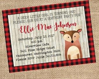 Deer Birthday Invitation, Lumberjack Birthday, Baby's First Birthday, Rustic Invitation, Digital, PDF, Printable