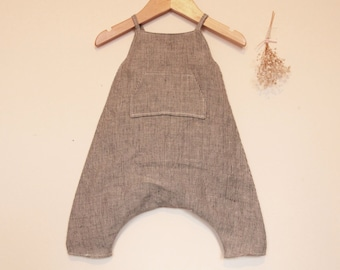 Handmade baby romper.  Grey striped washed linen romper. Unisex romper. Toddler romper. Boys romper.  Summer romper. Dungarees. Overalls.