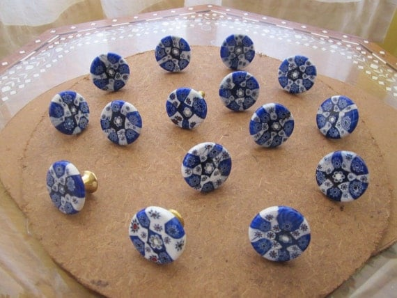 "15 Designed Glass Knobs, Round 1.25"" Diameter Blue & White with Brass base"