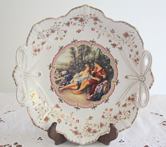 RESERVED FOR JASMINE Lovely Vintage Porcelain Round Serving Dish, Victorian Courting Couple Decor, Royal Vienna Style